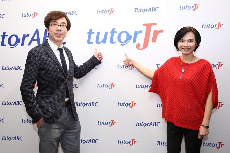 TutorABC營運長沈沛鴻與tutorJr營銷總經理黃嘉琦,共同宣告tutorJr品牌更名上市。